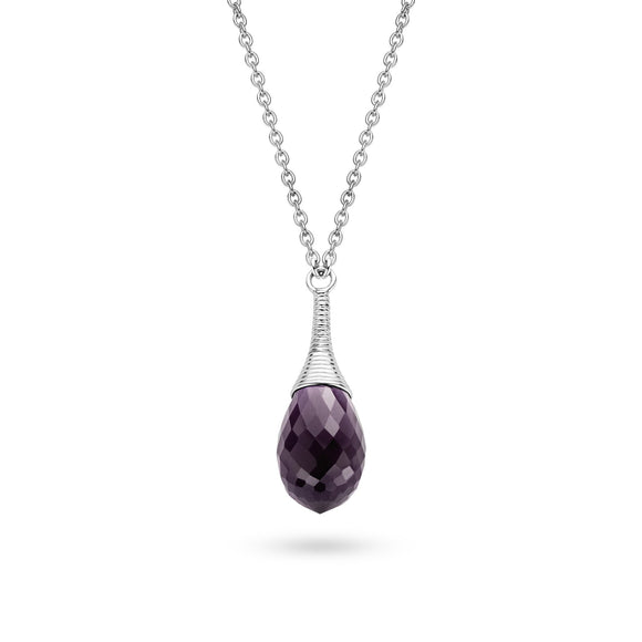 Ti Sento Sterling Silver Faceted Purple Cubic Zirconia Teardrop Necklace 3786DP