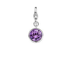 Ti Sento Sterling Silver Purple Crystal Charm D
