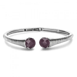 Ti Sento Sterling Silver Purple Cubic Zirconia Tapered Bangle 2751DP