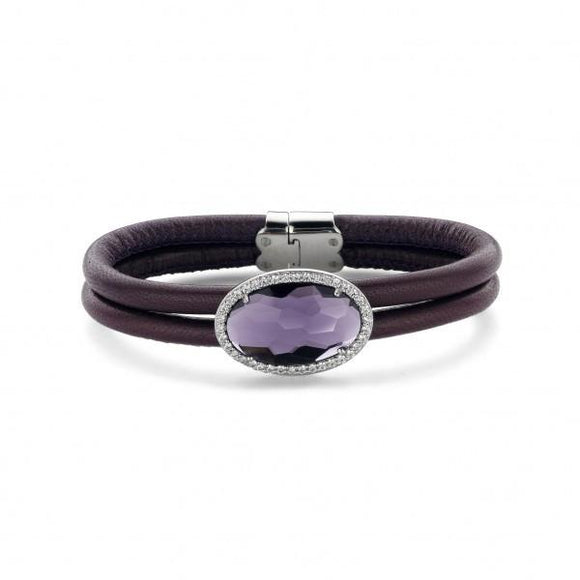 Ti Sento Sterling Silver Purple Leather And Crystal Bracelet 2759MA