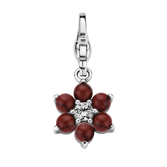 Ti Sento Sterling Silver Red Crystal Flower Power Charm 8550OR