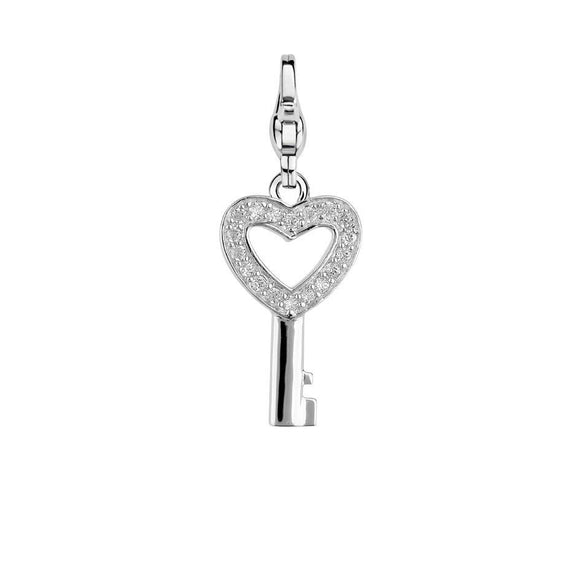 Ti Sento Sterling Silver White Zirconia Key To Your Heart Charm 8083ZI
