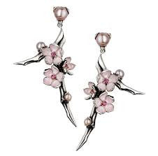 Shaun Leane Earrings Branch Cherry Blossom with Rhodalite & Pearls Silver