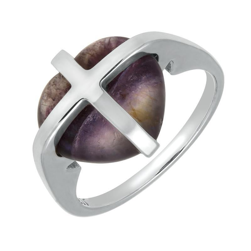 Silver And Blue John Small Cross Heart Ring
