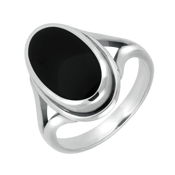 Sterling Silver Whitby Jet Oval Ridged Ring R113