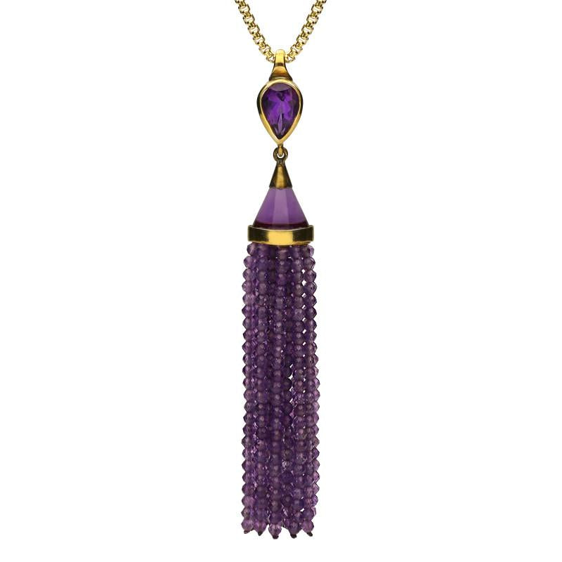 Yellow Gold Amethyst Cascade Necklace