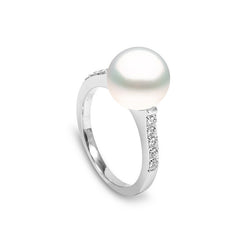 Yoko Pearls 0.20ct Diamond White Southsea Pearl Ring