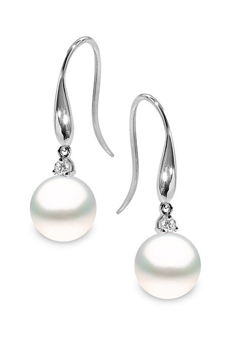 Yoko Pearls 18ct White Gold 0.13ct Diamond South Sea Pearl Drop Earrings