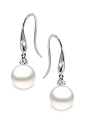Yoko Pearls 18ct White Gold 0.13ct Diamond South Sea Pearl Drop Earrings ET0011-703-DHJX