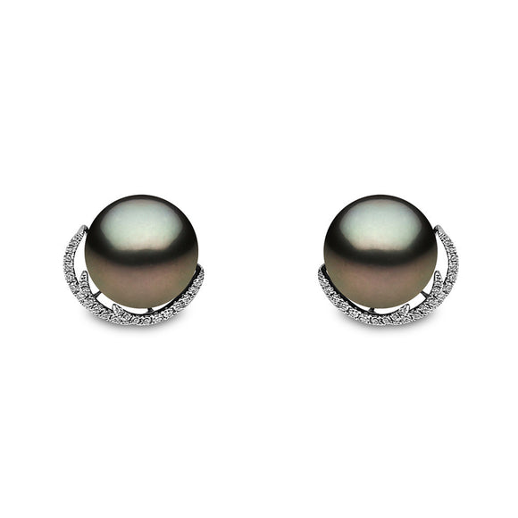 Yoko Pearls 18ct White Gold 0.24ct Diamond Tahitian Pearl Stud Earrings EG0243-702-EHY