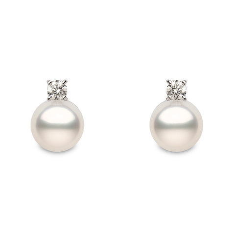 Yoko Pearls 18ct White Gold Diamond White Pearl Stud Earrings