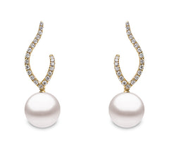 Yoko Pearls 18ct Yellow Gold 0.22ct Diamond Freshwater Pearl Double Curve Drop Earrings