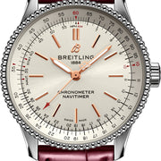 Breitling Watch Navitimer Automatic 35 Silver Burgundy Croco Tang Type A17395F41G1P1