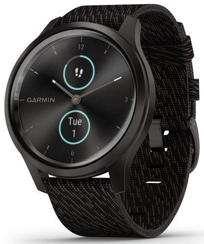Garmin Watch Vivomove Style Graphite Aluminium Case Black Pepper Nylon 010-02240-03