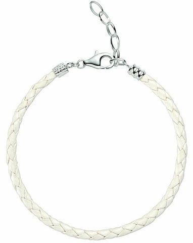 Chamilia Bracelet Leather White Metallic Braided