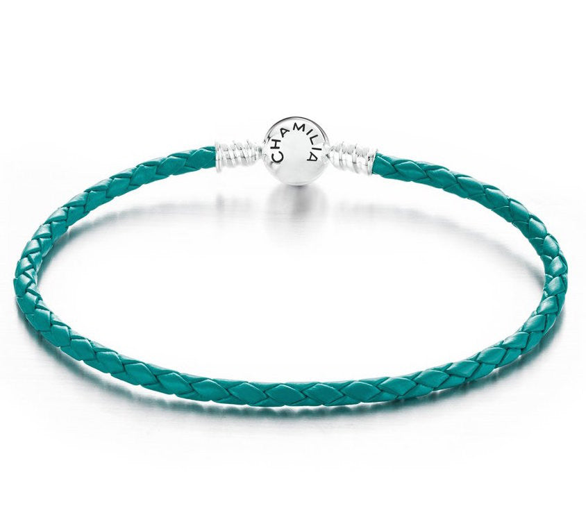 Chamilia Bracelet Braided Snap Closure Teal Leather