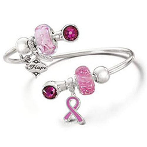 Chamilia Charm Breast Cancer Give Back Pink Ribbon Silver