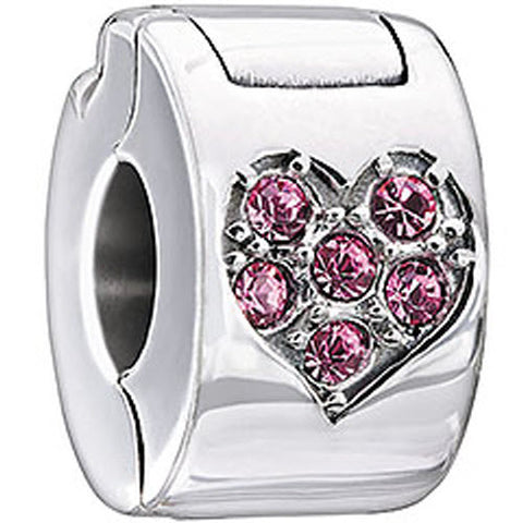 Chamilia Charm Jeweled Heart Lock Light Pink Swarovski Silver
