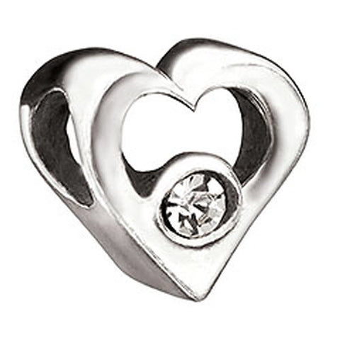 Chamilia Charm Jeweled Heart Clear Cz Silver