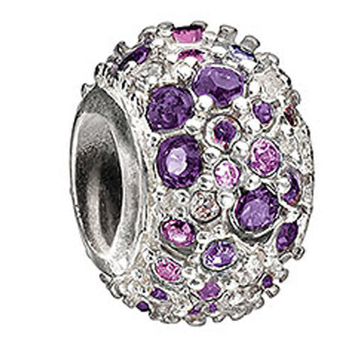 Chamilia Charm Jeweled Kaleidoscope Purple Swarovski Silver