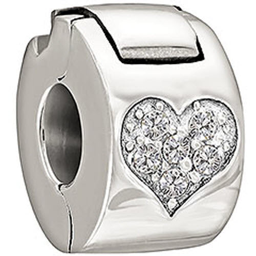 Chamilia Charm Jeweled Heart Lock Crystal Lock Silver