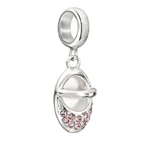 Chamilia Charm Twinkle Toes Pink Swarovski Baby Slipper Silver