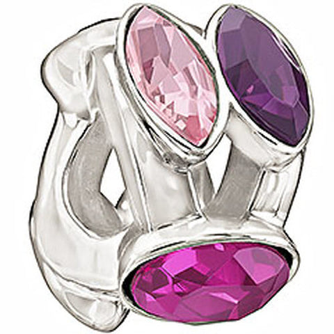 Chamilia Charm Splendid Marquis Pink And Purple Crystal Silver