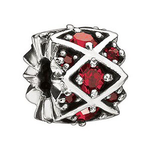 Chamilia Charm Red Shimmering Stones Silver