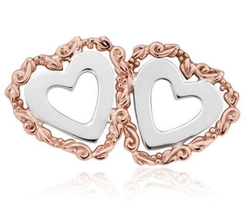 Clogau Earrings One Heart Silver & 9ct Rose Gold