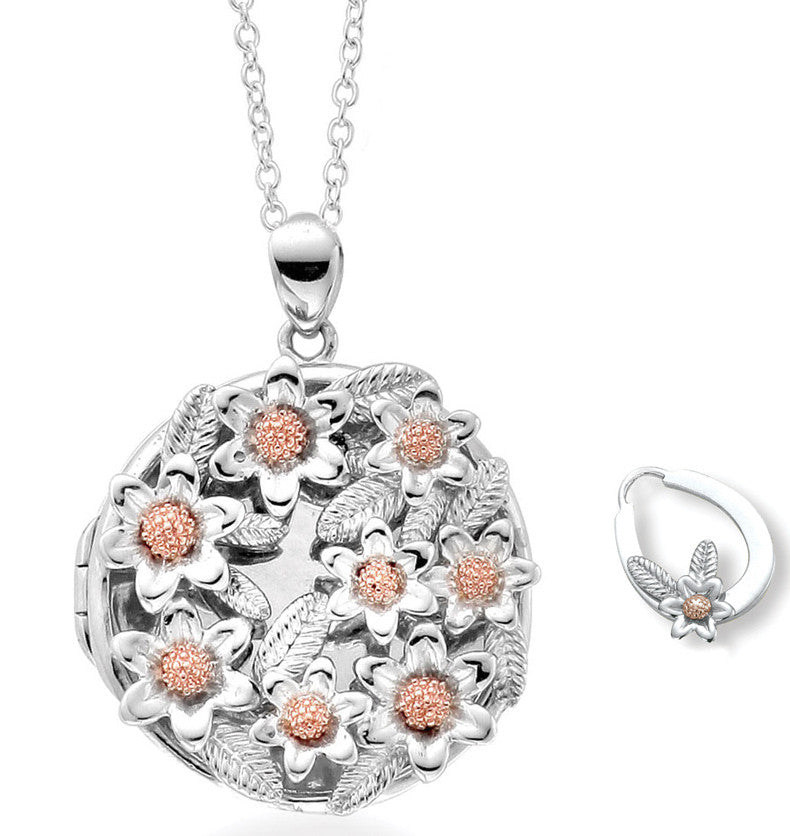 Clogau Necklace Meadow Inner Charm Silver and 9ct Rose Gold