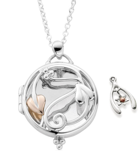 Clogau Necklace Tree of Life Charm Silver and 9ct Rose Gold