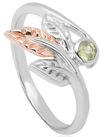 Clogau Ring Awelon Silver, 9ct Rose Gold and Peridot