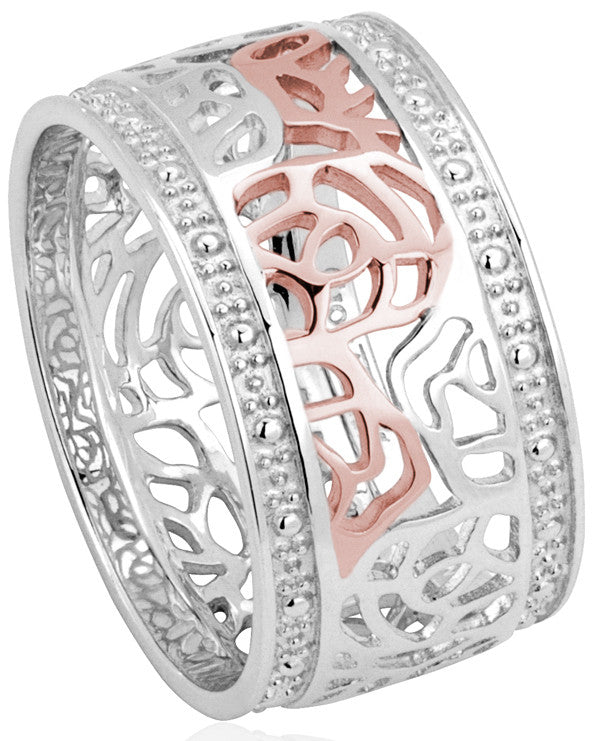 Clogau Ring Royal Roses Silver
