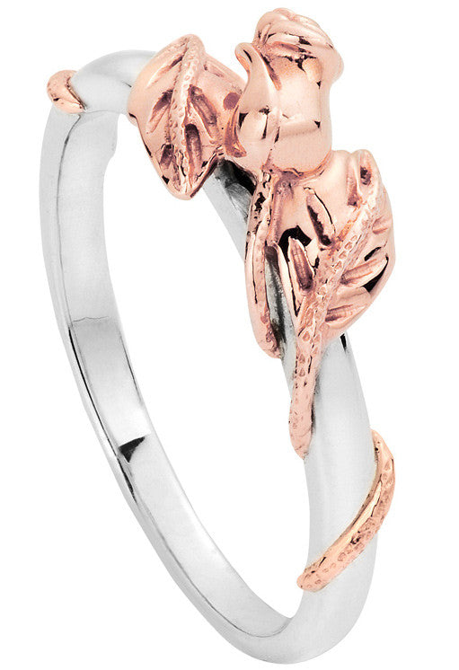 Clogau Ring Glyn Rhosyn Silver and 9ct Rose Gold