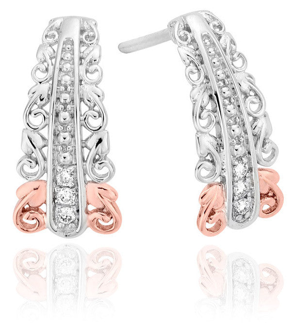 Clogau Earrings Am Byth Tapered Diamond Silver