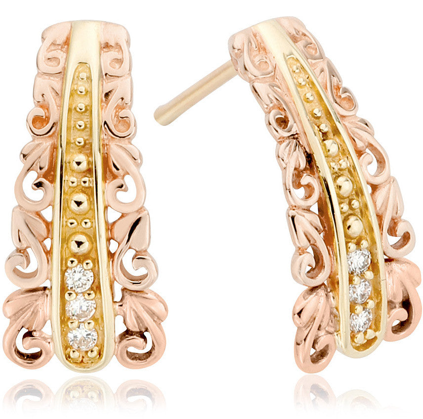Clogau Am Byth 9ct Yellow And Rose Gold Diamond Tapered Earrings
