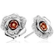 Clogau Rose Sterling Silver 9ct Rose Gold White Topaz Earrings 3SRME