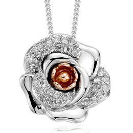 Clogau Rose Sterling Silver 9ct Rose Gold White Topaz Pendant 3SRMP
