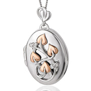 Clogau Tree Of Life Sterling Silver 9ct Rose Gold 0.005ct Diamond Oval Locket XX3STOLLP