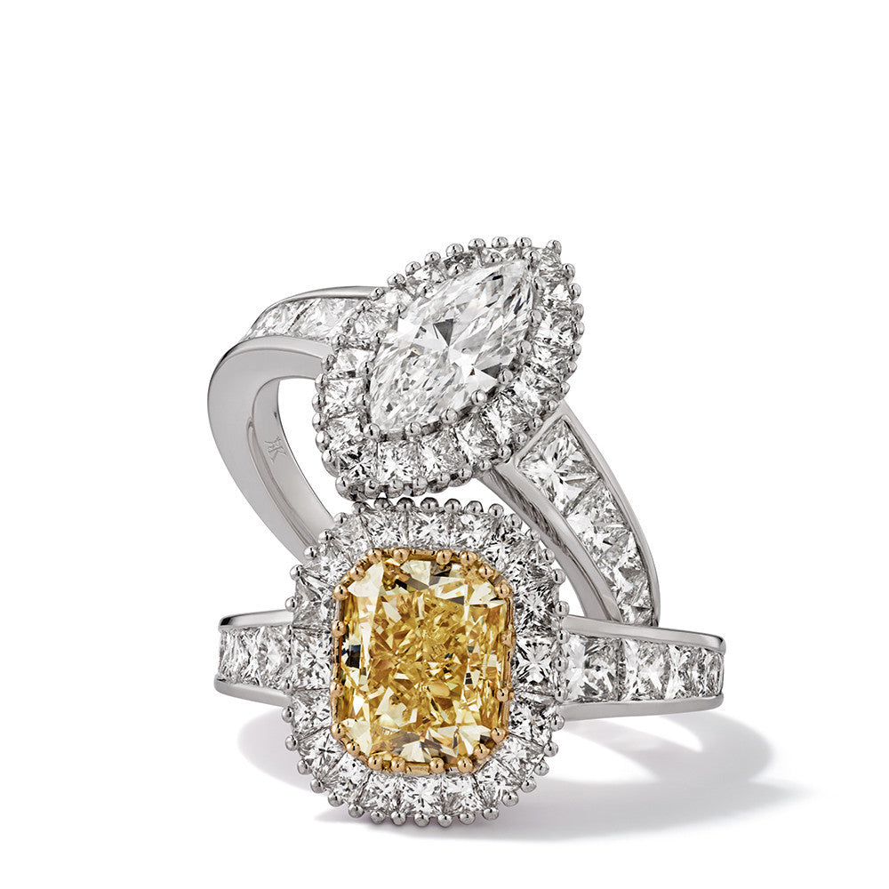 Hans D. Kreiger Ring White Gold 18K Fancy Yellow And  Colourless Diamond Set