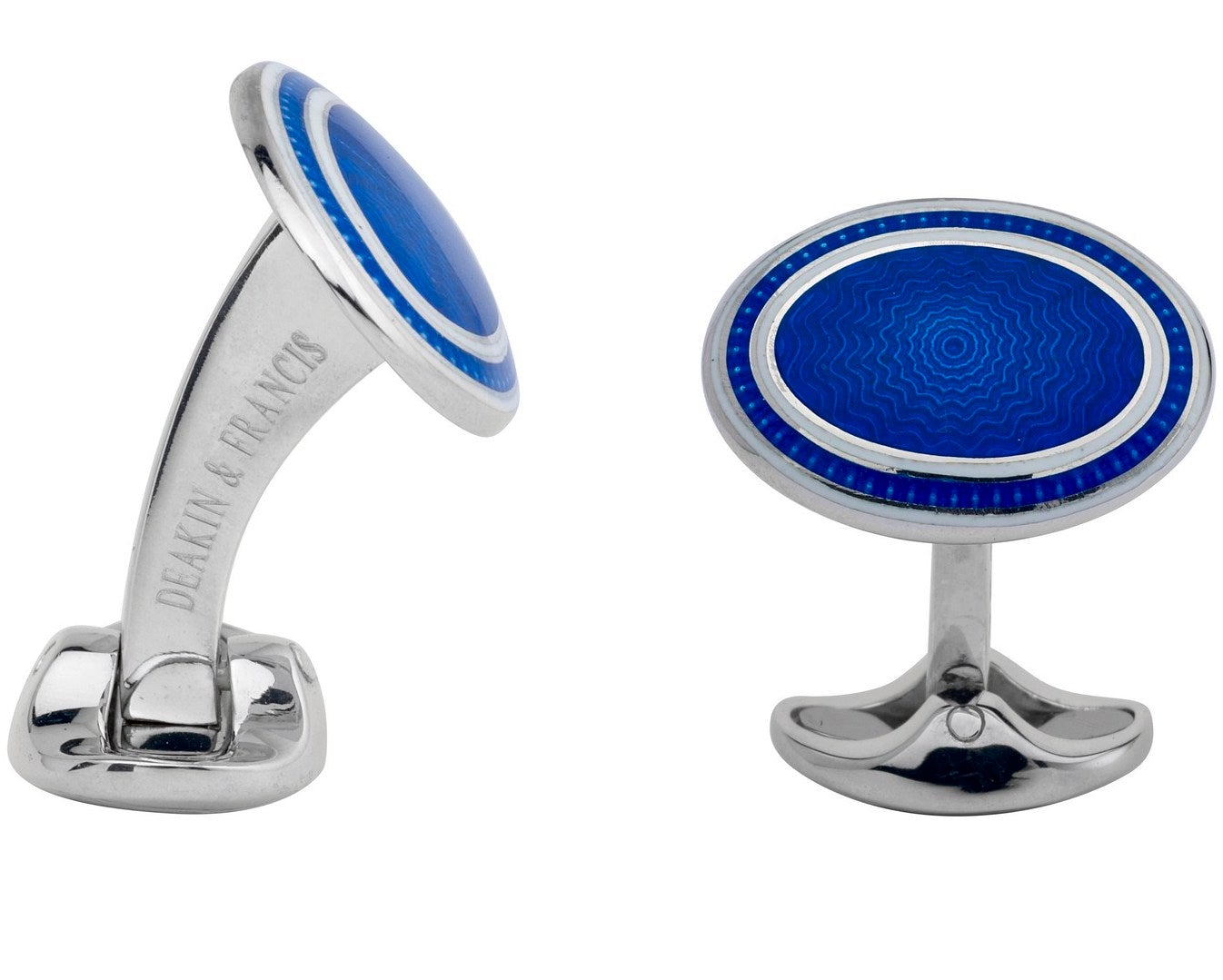 Deakin & Francis Sterling Silver White Royal Blue Enamel Cufflinks