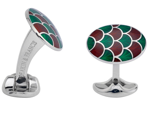 Deakin & Francis Sterling Silver Bright Green Maroon Red Enamel Cufflinks