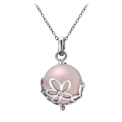 Hot Diamonds Paradise Sterling Silver Diamond Rose Quartz Orb Necklace D