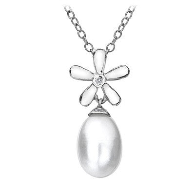 Hot Diamonds Necklace White Flower Diamond and Pearls DP346