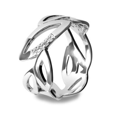 Hot Diamonds Ring Simply Sparkle Multi Leaf Silver D
