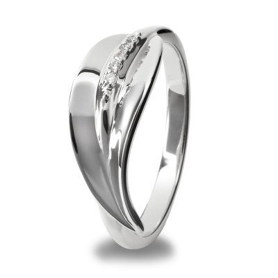 Hot Diamonds Ring Simply Sparkle Silver Leaf Stem Silver D
