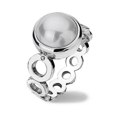 Hot Diamonds Ring White Circle Silver D
