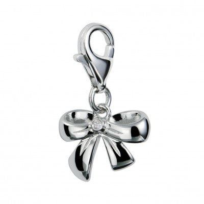 Hot Diamonds Charm Love, Luck & Happiness Romantic Ribbon Silver