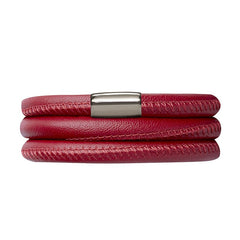 Endless Jewellery Bracelet Leather Triple Red 60cm