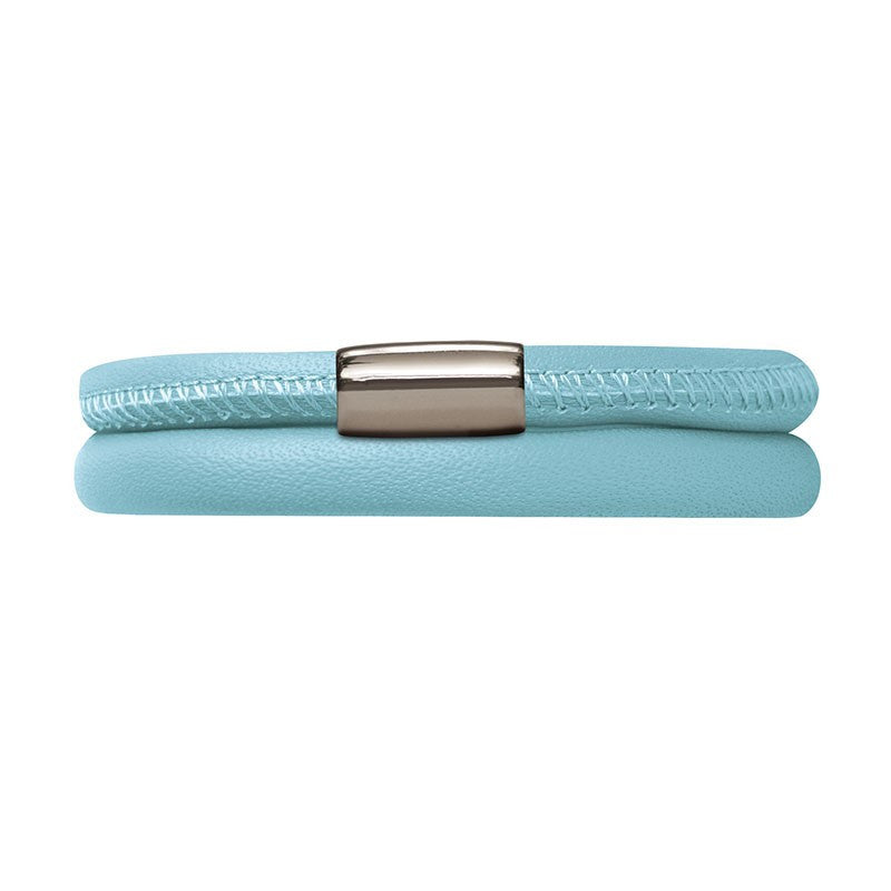 Endless Jewellery Bracelet Leather Double Light Blue 40cm